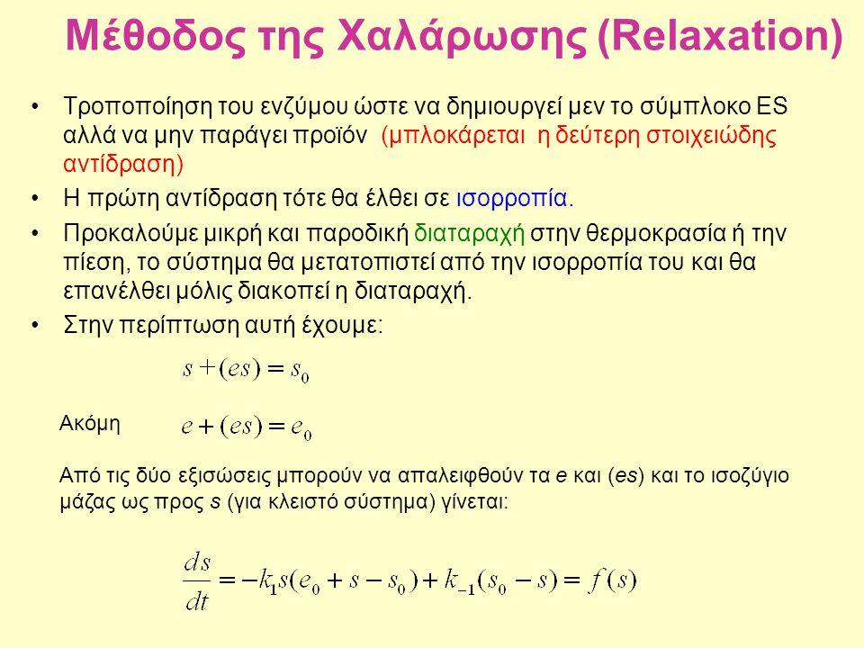 Μέθοδος της Χαλάρωσης (Relaxation) Τροποποίηση του ενζύμου ώστε να δημιουργεί μεν το σύμπλοκο ES αλλά να μην παράγει προϊόν (μπλοκάρεται η δεύτερη στο