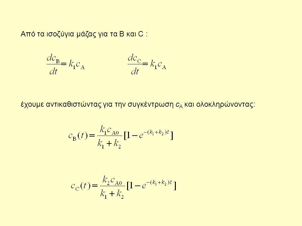 Aπό τα ισοζύγια μάζας για τα B και C : έχουμε αντικαθιστώντας για την συγκέντρωση c Α και ολοκληρώνοντας: