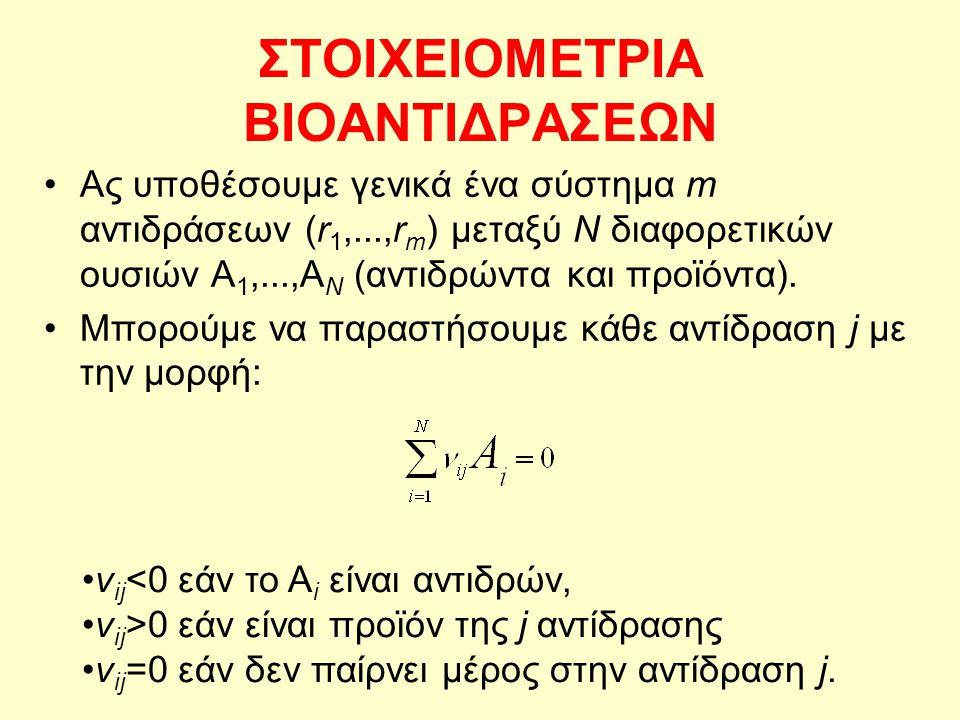 ΣΤΟΙΧΕΙΟΜΕΤΡΙΑ ΒΙΟΑΝΤΙΔΡΑΣΕΩΝ Ας υποθέσουμε γενικά ένα σύστημα m αντιδράσεων (r 1,...,r m ) μεταξύ Ν διαφορετικών ουσιών Α 1,...,Α Ν (αντιδρώντα και προϊόντα).