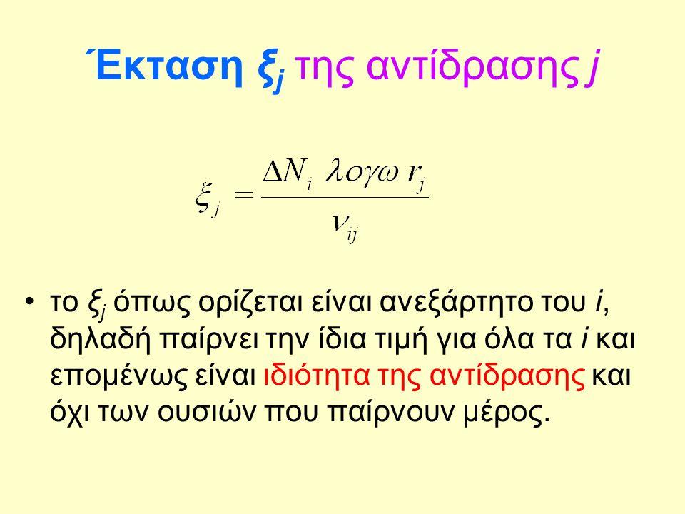 Έκταση ξ j της αντίδρασης j το ξ j όπως ορίζεται είναι ανεξάρτητο του i, δηλαδή παίρνει την ίδια τιμή για όλα τα i και επομένως είναι ιδιότητα της αντ
