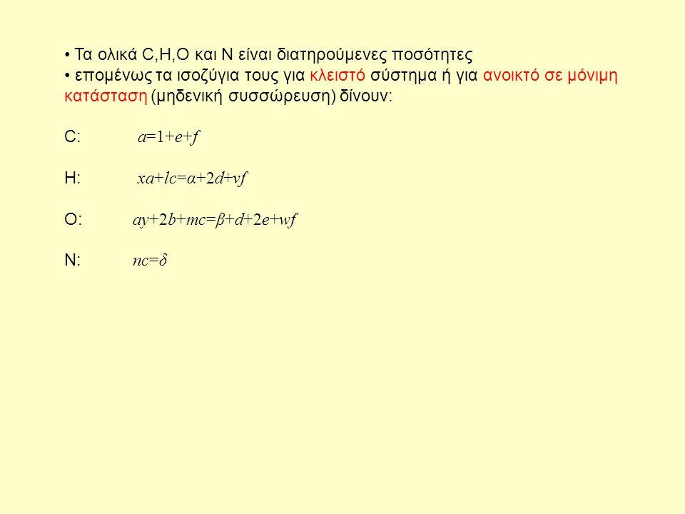 Τα ολικά C,H,O και N είναι διατηρούμενες ποσότητες επομένως τα ισοζύγια τους για κλειστό σύστημα ή για ανοικτό σε μόνιμη κατάσταση (μηδενική συσσώρευση) δίνουν: C: a=1+e+f H: xa+lc=α+2d+vf O: ay+2b+mc=β+d+2e+wf N: nc=δ