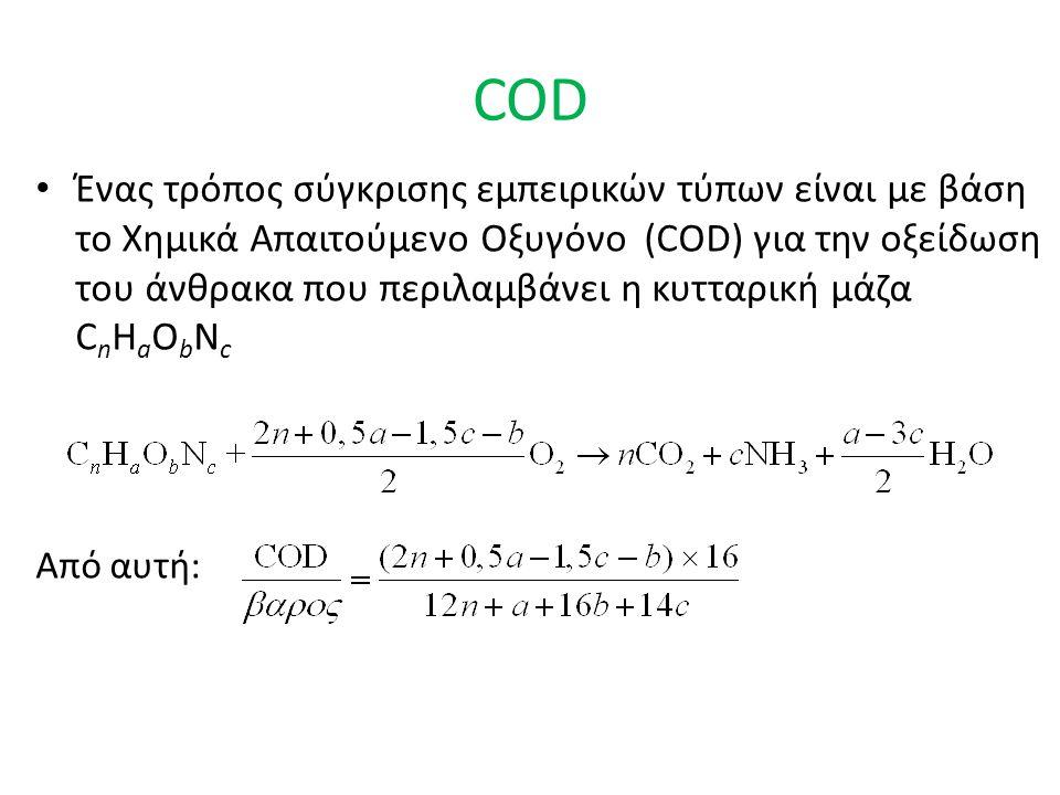 COD Ένας τρόπος σύγκρισης εμπειρικών τύπων είναι με βάση το Χημικά Απαιτούμενο Οξυγόνο (COD) για την οξείδωση του άνθρακα που περιλαμβάνει η κυτταρική μάζα C n H a O b N c Από αυτή: