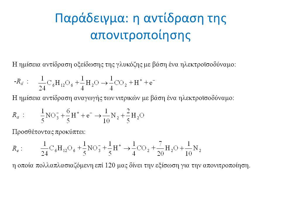 Παράδειγμα: η αντίδραση της απονιτροποίησης Η ημίσεια αντίδραση οξείδωσης της γλυκόζης με βάση ένα ηλεκτροϊσοδύναμο: -R d : Η ημίσεια αντίδραση αναγωγής των νιτρικών με βάση ένα ηλεκτροϊσοδύναμο: R a : Προσθέτοντας προκύπτει: R e : η οποία πολλαπλασιαζόμενη επί 120 μας δίνει την εξίσωση για την απονιτροποίηση.