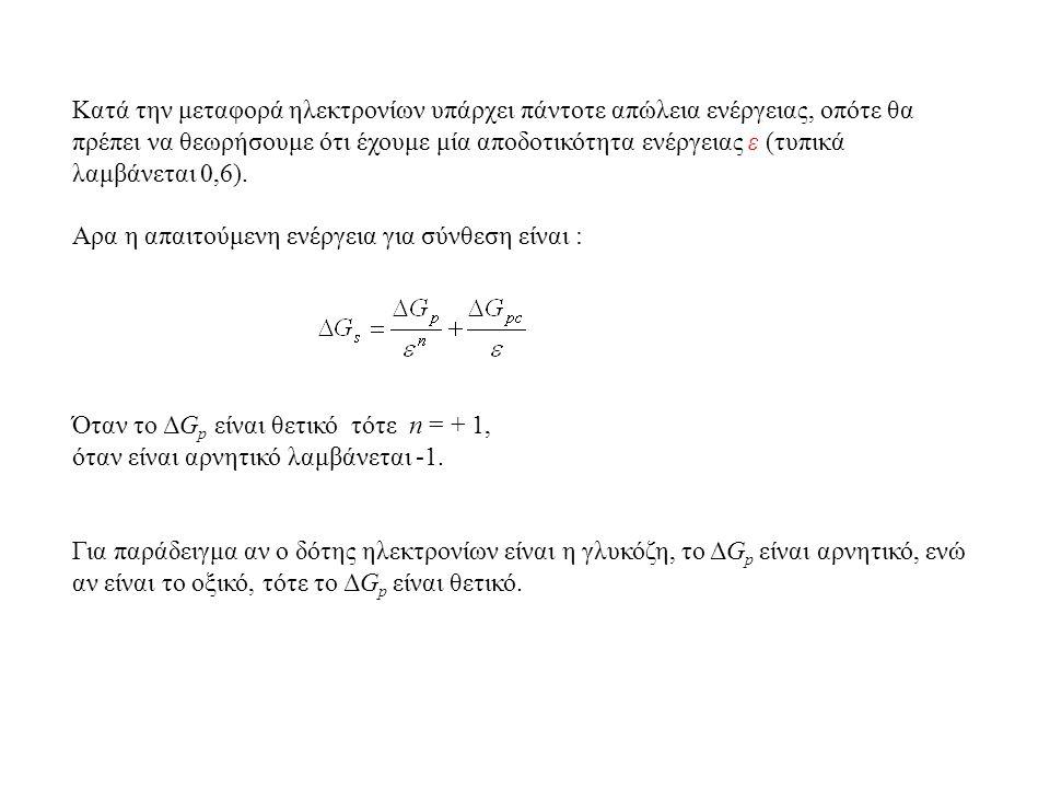 Kατά την μεταφορά ηλεκτρονίων υπάρχει πάντοτε απώλεια ενέργειας, οπότε θα πρέπει να θεωρήσουμε ότι έχουμε μία αποδοτικότητα ενέργειας ε (τυπικά λαμβάνεται 0,6).