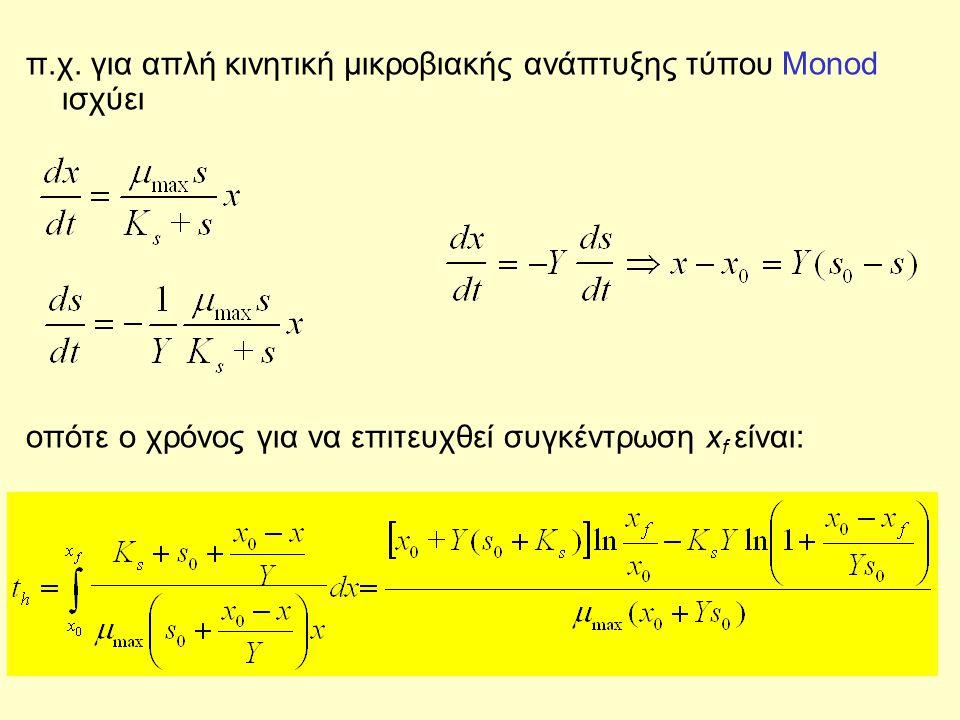 π.χ. για απλή κινητική μικροβιακής ανάπτυξης τύπου Monod ισχύει οπότε ο χρόνος για να επιτευχθεί συγκέντρωση x f είναι: