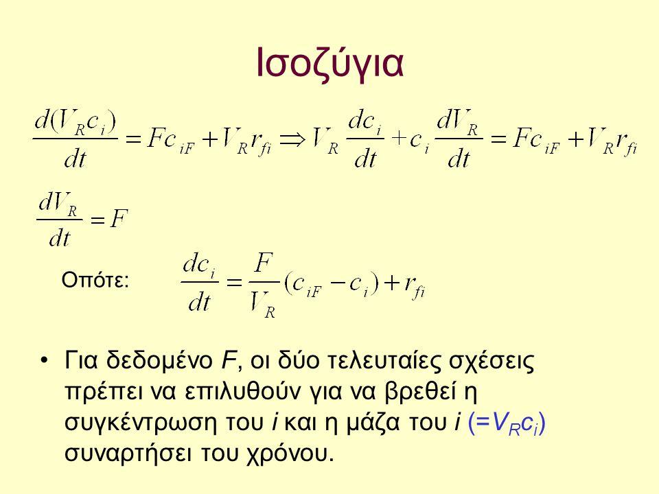 Ισοζύγια Για δεδομένο F, oι δύο τελευταίες σχέσεις πρέπει να επιλυθούν για να βρεθεί η συγκέντρωση του i και η μάζα του i (=V R c i ) συναρτήσει του χ