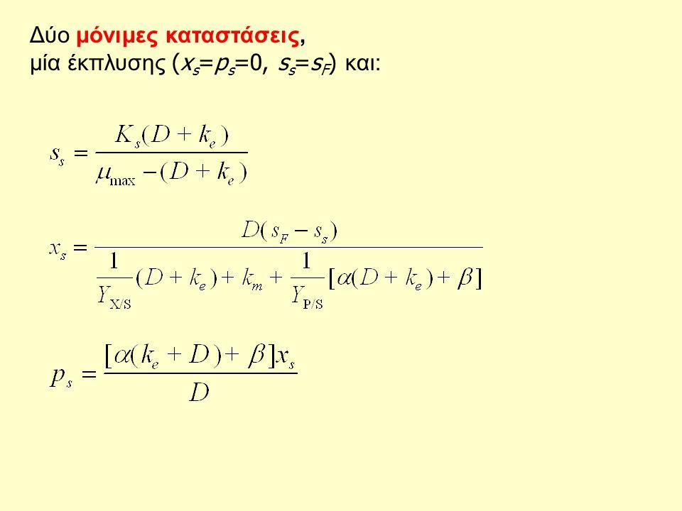 Δύο μόνιμες καταστάσεις, μία έκπλυσης (x s =p s =0, s s =s F ) και:
