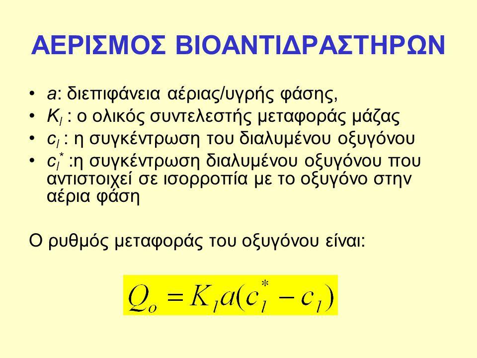 ΑΕΡΙΣΜΟΣ ΒΙΟΑΝΤΙΔΡΑΣΤΗΡΩΝ a: διεπιφάνεια αέριας/υγρής φάσης, K l : ο ολικός συντελεστής μεταφοράς μάζας c l : η συγκέντρωση του διαλυμένου οξυγόνου c