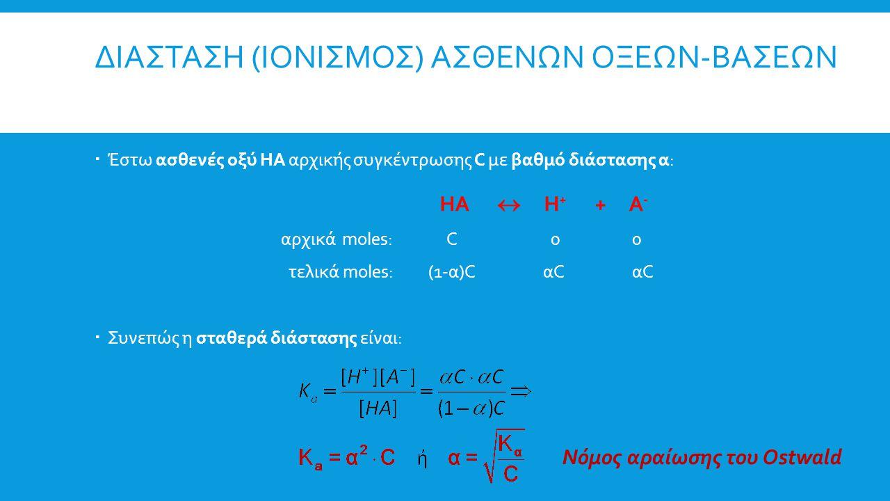 ΔΙΑΣΤΑΣΗ (ΙΟΝΙΣΜΟΣ) ΑΣΘΕΝΩΝ ΟΞΕΩΝ-ΒΑΣΕΩΝ  Έστω ασθενές οξύ ΗΑ αρχικής συγκέντρωσης C με βαθμό διάστασης α: ΗΑ  Η + + Α - αρχικά moles: C 0 0 τελικά