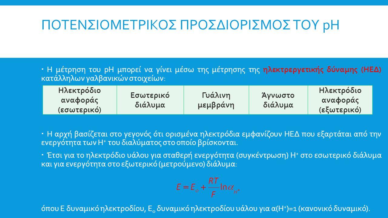 ΠΟΤΕΝΣΙΟΜΕΤΡΙΚΟΣ ΠΡΟΣΔΙΟΡΙΣΜΟΣ ΤΟΥ pH  Η μέτρηση του pH μπορεί να γίνει μέσω της μέτρησης της ηλεκτρεργετικής δύναμης (ΗΕΔ) κατάλληλων γαλβανικών στο