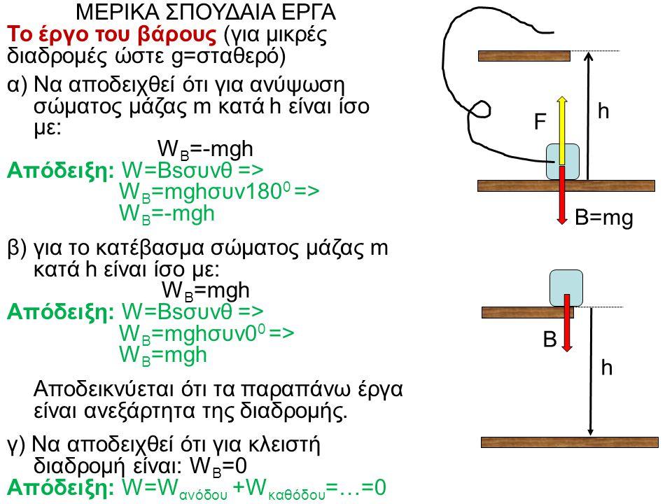 ΜΕΡΙΚΑ ΣΠΟΥΔΑΙΑ ΕΡΓΑ Το έργο του βάρους (για μικρές διαδρομές ώστε g=σταθερό) α) Να αποδειχθεί ότι για ανύψωση σώματος μάζας m κατά h είναι ίσο με: W