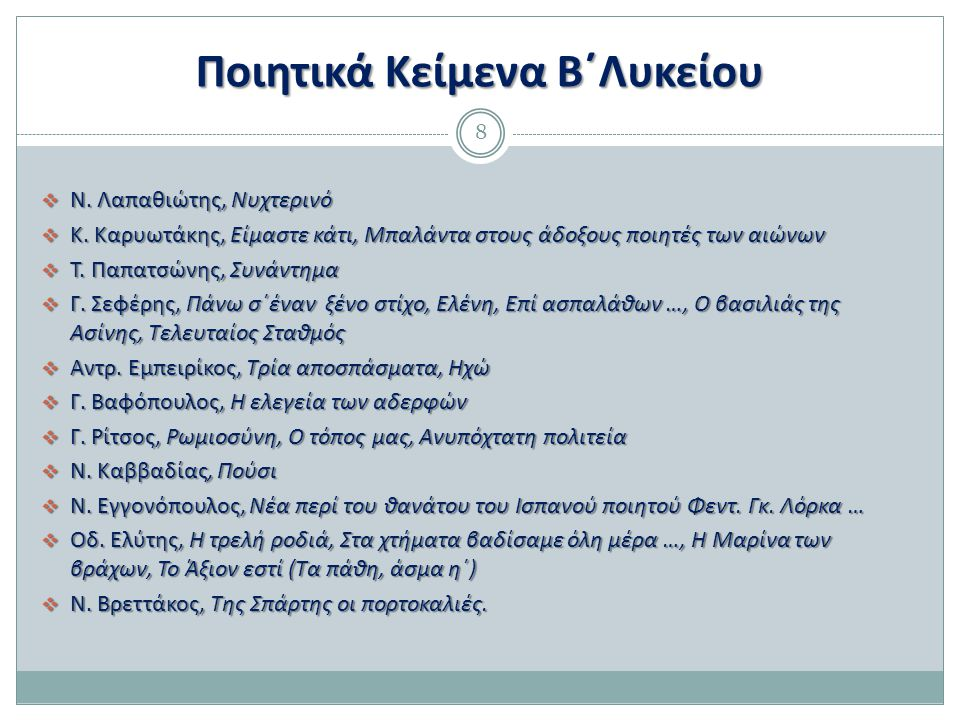 Ποιητικά Κείμενα Β΄Λυκείου 8  Ν. Λαπαθιώτης, Νυχτερινό  Κ. Καρυωτάκης, Είμαστε κάτι, Μπαλάντα στους άδοξους ποιητές των αιώνων  Τ. Παπατσώνης, Συνά