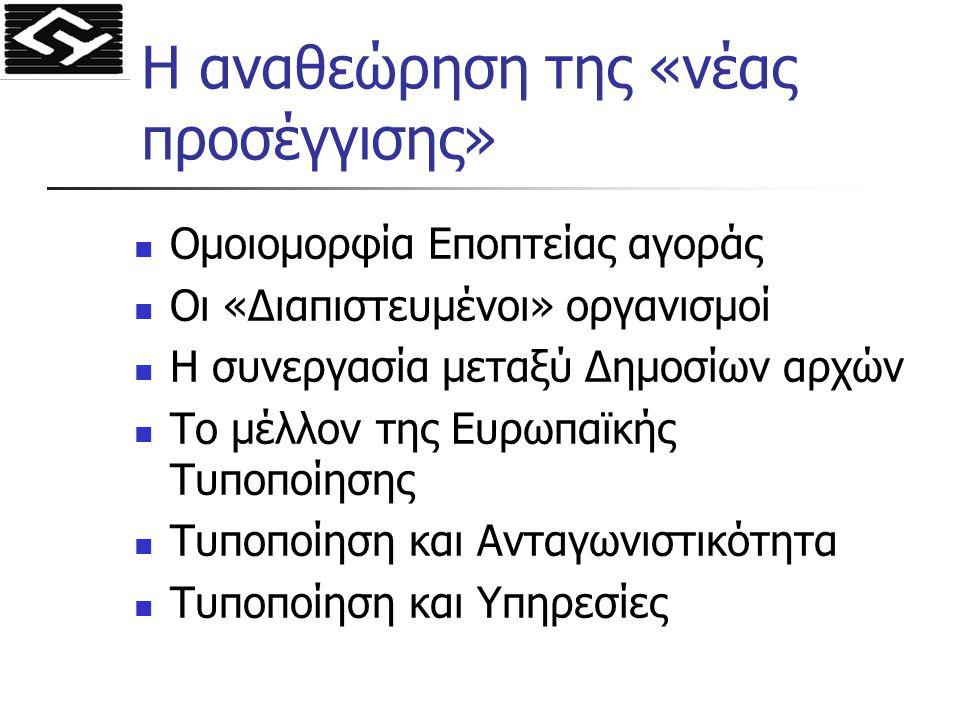 Η αναθεώρηση της «νέας προσέγγισης» Ομοιομορφία Εποπτείας αγοράς Οι «Διαπιστευμένοι» οργανισμοί Η συνεργασία μεταξύ Δημοσίων αρχών Το μέλλον της Ευρωπ