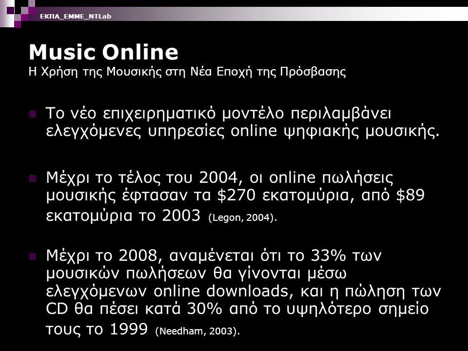 Music Online Η Χρήση της Μουσικής στη Νέα Εποχή της Πρόσβασης Το νέο επιχειρηματικό μοντέλο περιλαμβάνει ελεγχόμενες υπηρεσίες online ψηφιακής μουσικής.
