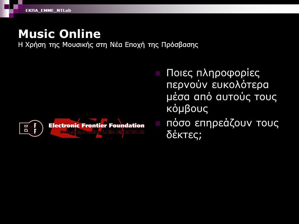 Music Online Η Χρήση της Μουσικής στη Νέα Εποχή της Πρόσβασης Διαχείριση Διανομή πληροφορίας και Πνευματικά δικαιώματα Πεδίο Διαμάχης ανάμεσα στους χρήστες και τους δημιουργούς ΕΚΠΑ_ΕΜΜΕ_ΝΤLab