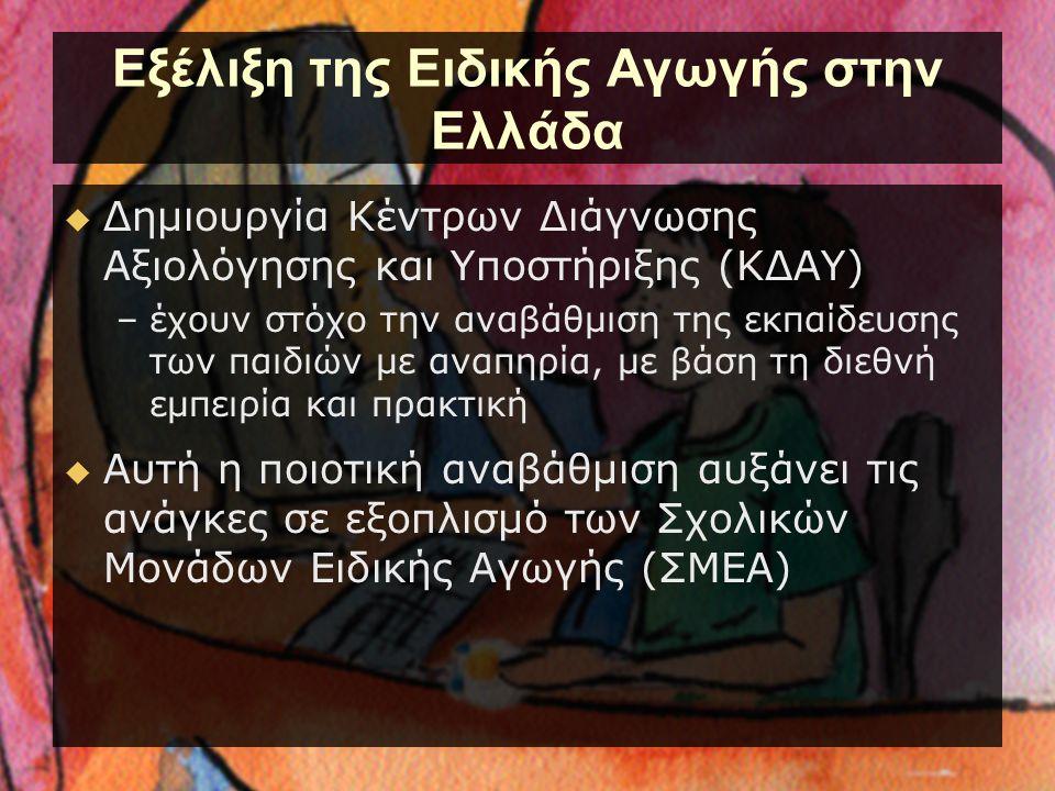 Εξέλιξη της Ειδικής Αγωγής στην Ελλάδα  Δημιουργία Κέντρων Διάγνωσης Αξιολόγησης και Υποστήριξης (ΚΔΑΥ) –έχουν στόχο την αναβάθμιση της εκπαίδευσης τ