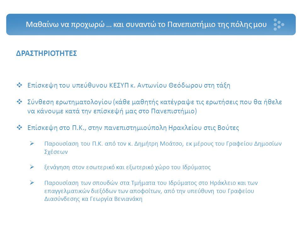 ΔΡΑΣΤΗΡΙΟΤΗΤΕΣ  Επίσκεψη του υπεύθυνου ΚΕΣΥΠ κ. Αντωνίου Θεόδωρου στη τάξη  Σύνθεση ερωτηματολογίου (κάθε μαθητής κατέγραψε τις ερωτήσεις που θα ήθε