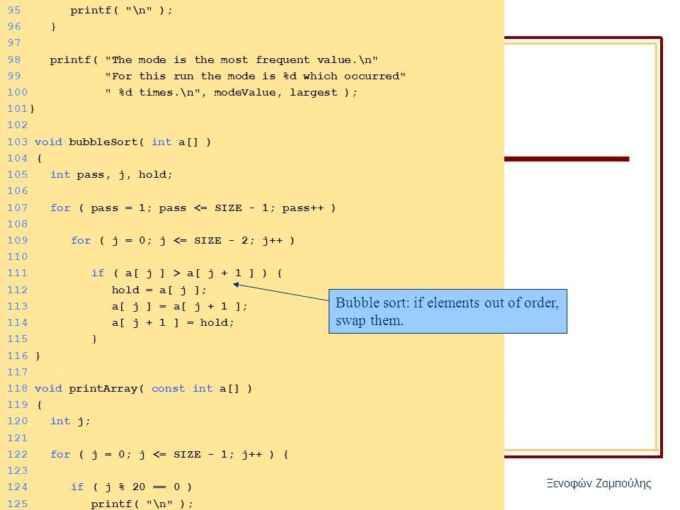 ΗΥ150 – Προγραμματισμός Ξενοφών Ζαμπούλης 95 printf( \n ); 96 } 97 98 printf( The mode is the most frequent value.\n 99 For this run the mode is %d which occurred 100 %d times.\n , modeValue, largest ); 101} 102 103 void bubbleSort( int a[] ) 104 { 105 int pass, j, hold; 106 107 for ( pass = 1; pass <= SIZE - 1; pass++ ) 108 109 for ( j = 0; j <= SIZE - 2; j++ ) 110 111 if ( a[ j ] > a[ j + 1 ] ) { 112 hold = a[ j ]; 113 a[ j ] = a[ j + 1 ]; 114 a[ j + 1 ] = hold; 115 } 116 } 117 118 void printArray( const int a[] ) 119 { 120 int j; 121 122 for ( j = 0; j <= SIZE - 1; j++ ) { 123 124 if ( j % 20 == 0 ) 125 printf( \n ); Bubble sort: if elements out of order, swap them.