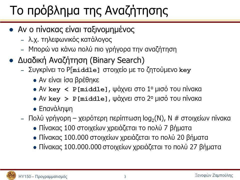 ΗΥ150 – Προγραμματισμός Ξενοφών Ζαμπούλης 4 Binary Search – Υλοποίηση με επανάληψη int binaryLoopSearch(int p[], int searchkey, int low, int high) { int middle; while ( low <= high ) { middle = (low + high ) / 2; if (searchkey == p[middle]) return middle; else if (searchkey < p[middle] ) high = middle – 1; else low = middle + 1; } return -1; }