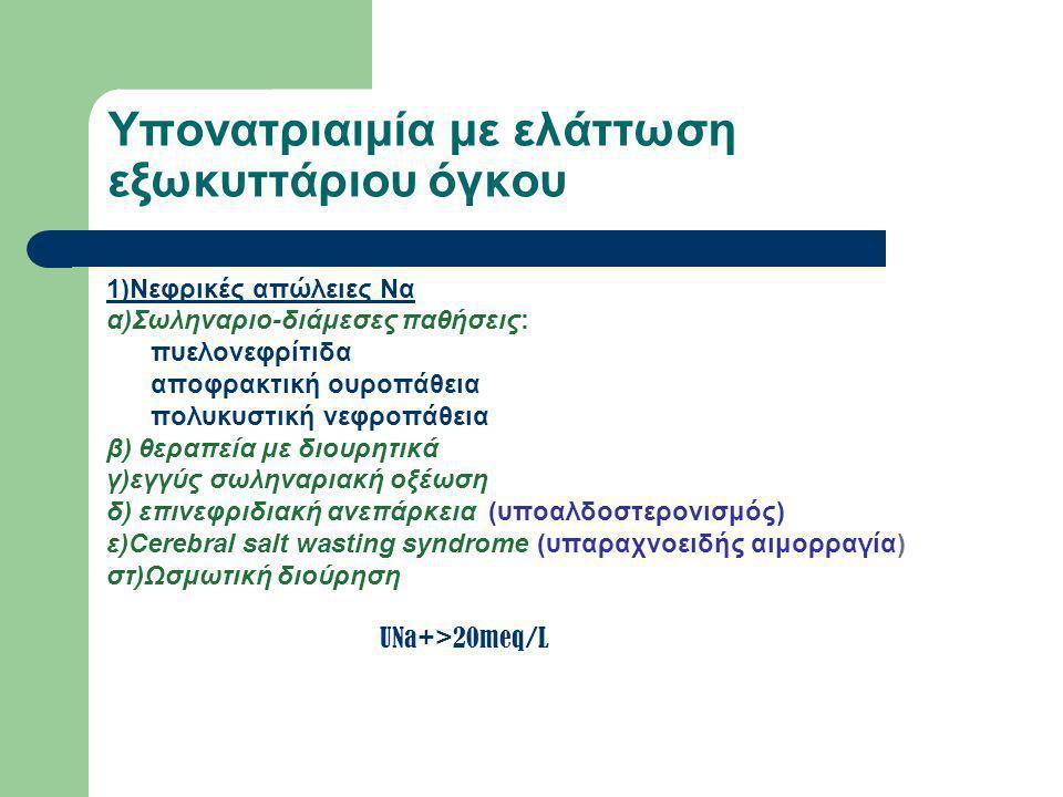 Υπονατριαιμία με ελάττωση εξωκυττάριου όγκου 2)Εξωνεφρικές απώλειες α)Γαστρεντερικές απώλειες (Έμετοι, διάρροιες,παροχετεύσεις) β)Απώλειες από το δέρμα (μαραθωνοδρόμοι,εγκαύματα,κυστική ίνωση) γ)Παγίδευση υγρών σε τρίτο χώρο (ραβδομυόλυση,περιτονίτιδα,παγκρεατίτιδα) UNa+ <20meq/L