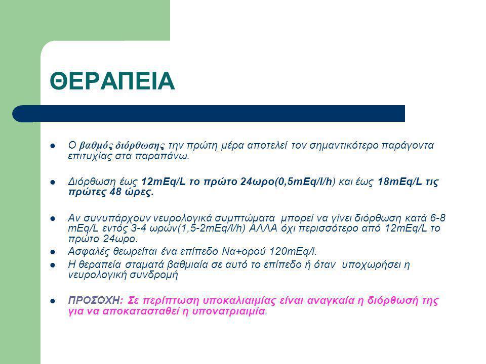 ΘΕΡΑΠΕΙΑ Υπέρτονα διαλύματα σπάνια χρειάζονται σε βαριά συμπτωματική υπονατριαιμία (Να+<110mEq/L) Μεγαλύτερος κίνδυνος ωσμωτικής απομυελίνωσης υπάρχει στη χρόνια και σοβαρή υπονατριαιμία, γι' αυτό ο ρυθμός διόρθωσης πρέπει να είναι βραδύτερος (<0,5mEq/l/h).