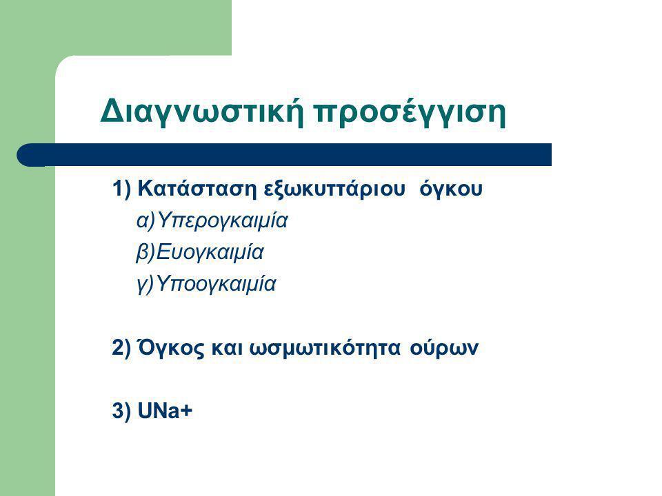 Διαγνωστική προσέγγιση 1) Κατάσταση εξωκυττάριου όγκου α)Υπερογκαιμία β)Ευογκαιμία γ)Υποογκαιμία 2) Όγκος και ωσμωτικότητα ούρων 3) UNa+