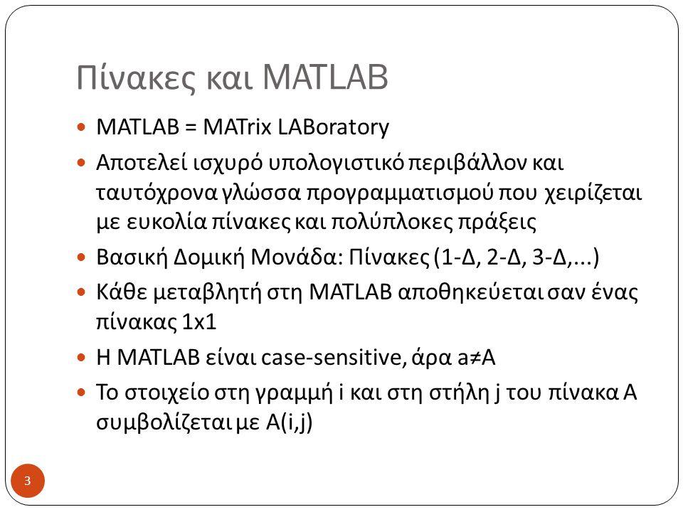 Πίνακες και MATLAB MATLAB = MATrix LABoratory Αποτελεί ισχυρό υπολογιστικό περιβάλλον και ταυτόχρονα γλώσσα προγραμματισμού που χειρίζεται με ευκολία πίνακες και πολύπλοκες πράξεις Βασική Δομική Μονάδα: Πίνακες (1-Δ, 2-Δ, 3-Δ,...) Κάθε μεταβλητή στη MATLAB αποθηκεύεται σαν ένας πίνακας 1x1 Η MATLAB είναι case-sensitive, άρα a≠A Το στοιχείο στη γραμμή i και στη στήλη j του πίνακα Α συμβολίζεται με Α(i,j) 3