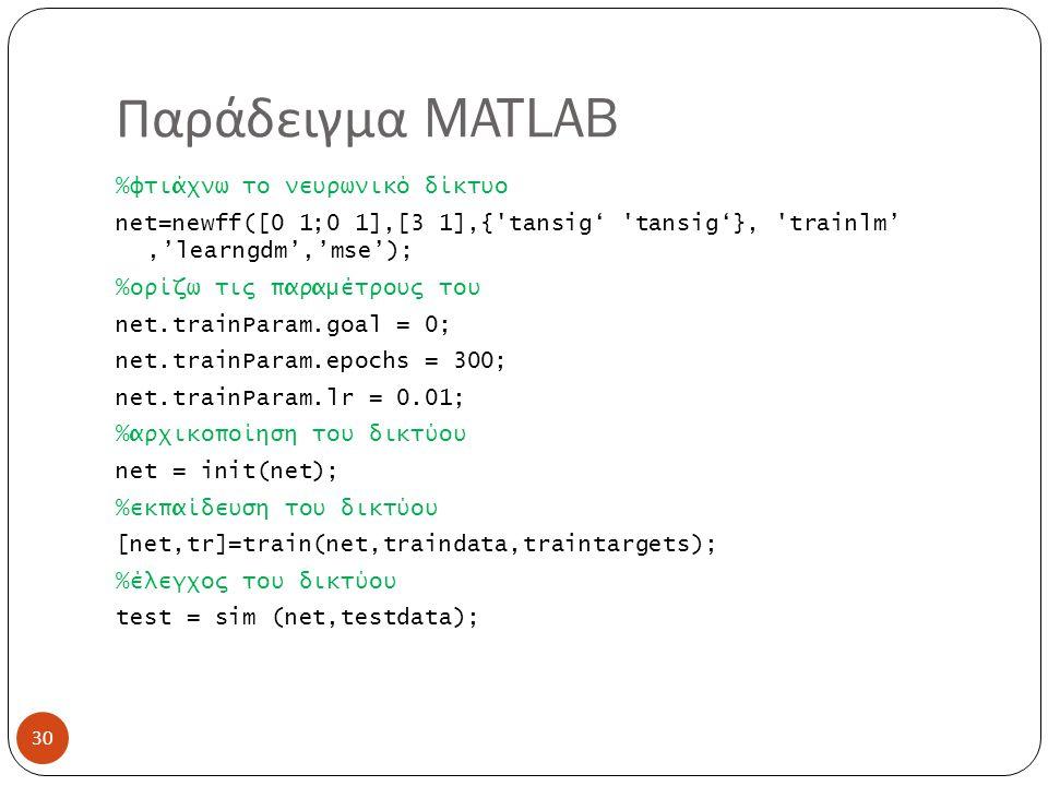 Παράδειγμα MATLAB 30 %φτιάχνω το νευρωνικό δίκτυο net=newff([0 1;0 1],[3 1],{ tansig' tansig'}, trainlm','learngdm','mse'); %ορίζω τις παραμέτρους του net.trainParam.goal = 0; net.trainParam.epochs = 300; net.trainParam.lr = 0.01; %αρχικοποίηση του δικτύου net = init(net); %εκπαίδευση του δικτύου [net,tr]=train(net,traindata,traintargets); %έλεγχος του δικτύου test = sim (net,testdata);