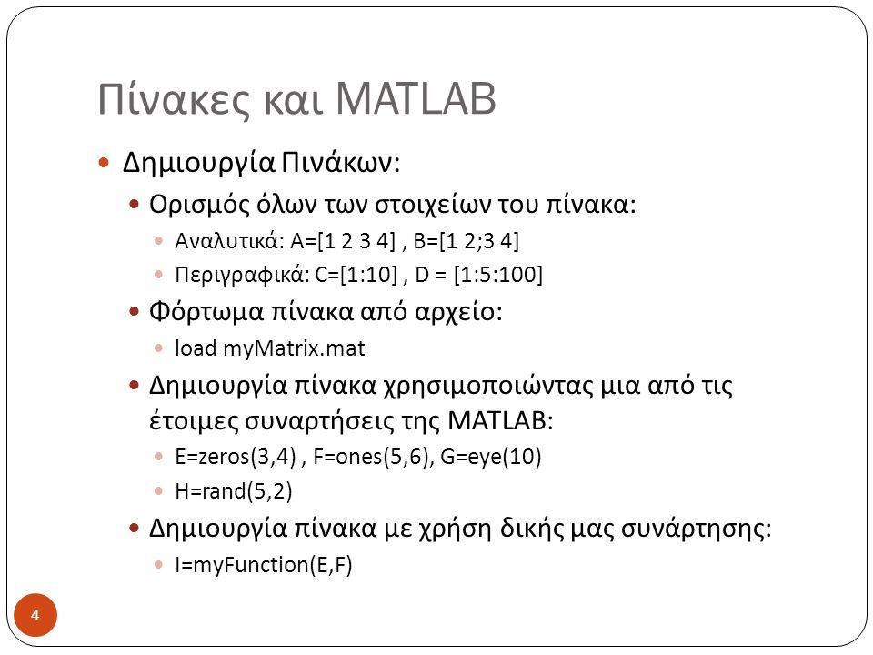 Πίνακες και MATLAB Δημιουργία Πινάκων: Ορισμός όλων των στοιχείων του πίνακα: Αναλυτικά: Α=[1 2 3 4], Β=[1 2;3 4] Περιγραφικά: C=[1:10], D = [1:5:100] Φόρτωμα πίνακα από αρχείο: load myMatrix.mat Δημιουργία πίνακα χρησιμοποιώντας μια από τις έτοιμες συναρτήσεις της MATLAB: E=zeros(3,4), F=ones(5,6), G=eye(10) H=rand(5,2) Δημιουργία πίνακα με χρήση δικής μας συνάρτησης: I=myFunction(E,F) 4