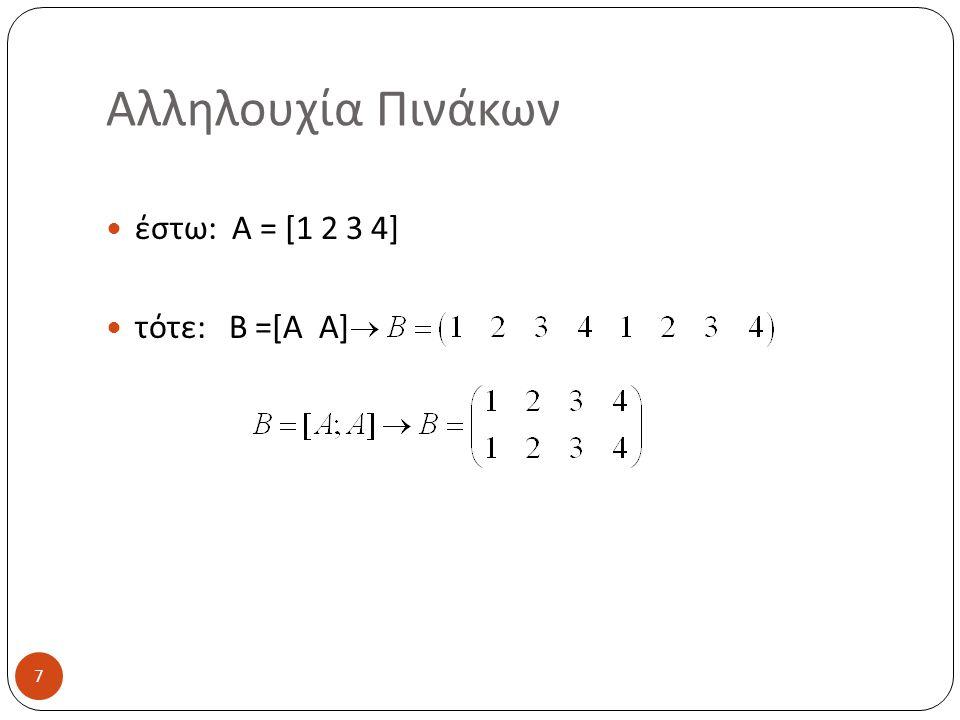 Αλληλουχία Πινάκων έστω: A = [1 2 3 4] τότε: B =[A A] 7