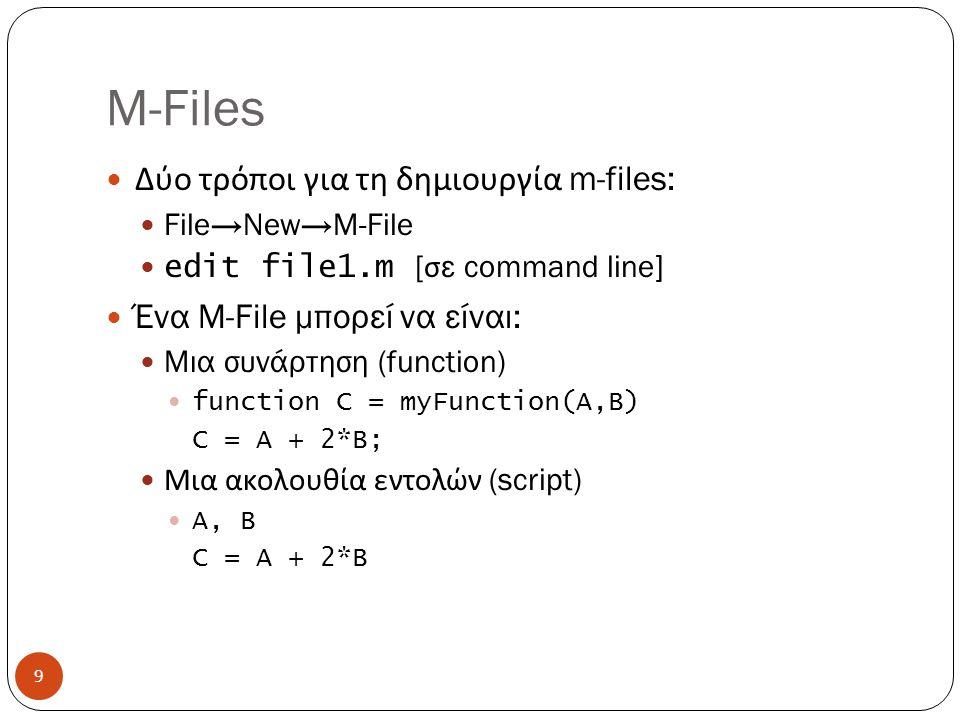 M-Files Δύο τρόποι για τη δημιουργία m-files: File→New→M-File edit file1.m [ σε command line] Ένα M-File μπορεί να είναι : Μια συνάρτηση (function) function C = myFunction(A,B) C = A + 2*B; Μια ακολουθία εντολών (script) A, B C = A + 2*B 9