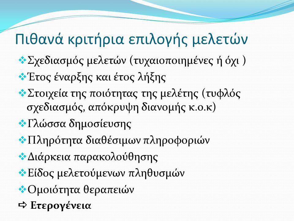 Πιθανά κριτήρια επιλογής μελετών  Σχεδιασμός μελετών (τυχαιοποιημένες ή όχι )  Έτος έναρξης και έτος λήξης  Στοιχεία της ποιότητας της μελέτης (τυφλός σχεδιασμός, απόκρυψη διανομής κ.ο.κ)  Γλώσσα δημοσίευσης  Πληρότητα διαθέσιμων πληροφοριών  Διάρκεια παρακολούθησης  Είδος μελετούμενων πληθυσμών  Ομοιότητα θεραπειών  Ετερογένεια