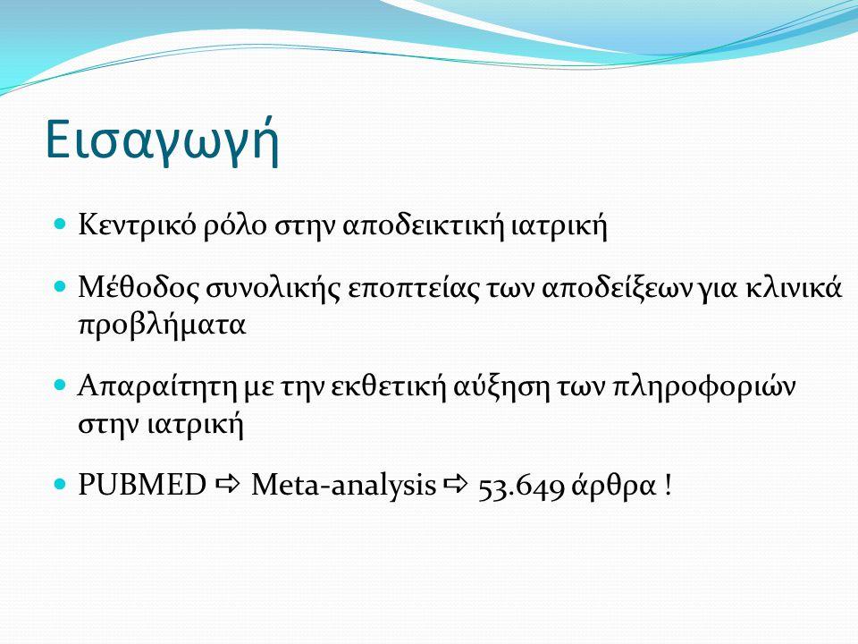 Πηγές ασυμμετρίας Σφάλματα αναφοράς (Reporting biases) Σφάλμα δημοσίευσης Σφάλμα χρονικής καθυστέρησης Σφάλμα τοποθεσίας (σφάλμα γλώσσας, πολλαπλών δημοσιεύσεων) Επιλεκτική αναφορά έκβασης και αποτελεσμάτων Κακή ποιότητα μελετών Λανθασμένος σχεδιασμός Ανεπαρκής ανάλυση Νοθεία Πραγματική ετερογένεια Ανάλογα με το μέγεθος της μελέτης αλλάζουν και οι επιδράσεις Τεχνητός Λόγω δειγματοληπτικής μεταβλητότητας Τύχη Χρήση δοκιμασιών ασυμμετρίας (Begg, Egger, Harbord, Rücker)
