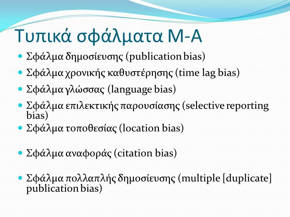 Τυπικά σφάλματα Μ-Α Σφάλμα δημοσίευσης (publication bias) Σφάλμα χρονικής καθυστέρησης (time lag bias) Σφάλμα γλώσσας (language bias) Σφάλμα επιλεκτικής παρουσίασης (selective reporting bias) Σφάλμα τοποθεσίας (location bias) Σφάλμα αναφοράς (citation bias) Σφάλμα πολλαπλής δημοσίευσης (multiple [duplicate] publication bias)