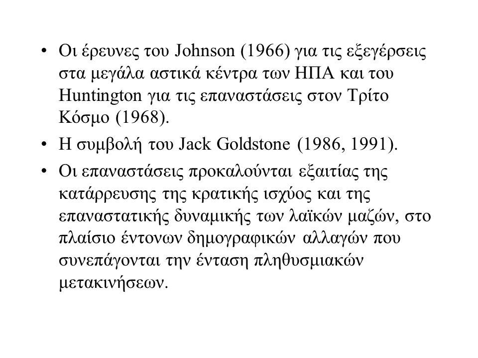 Οι έρευνες του Johnson (1966) για τις εξεγέρσεις στα μεγάλα αστικά κέντρα των ΗΠΑ και του Huntington για τις επαναστάσεις στον Τρίτο Κόσμο (1968).