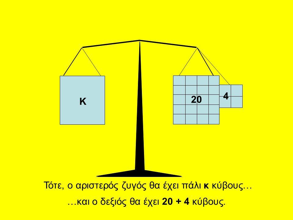 20 4 Κ Τότε, ο αριστερός ζυγός θα έχει πάλι κ κύβους… …και ο δεξιός θα έχει 20 + 4 κύβους.