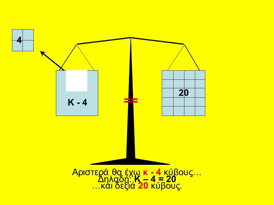 20 4 Αριστερά θα έχω κ - 4 κύβους… …και δεξιά 20 κύβους. Δηλαδή: Κ – 4 = 20 Κ - 4 ==