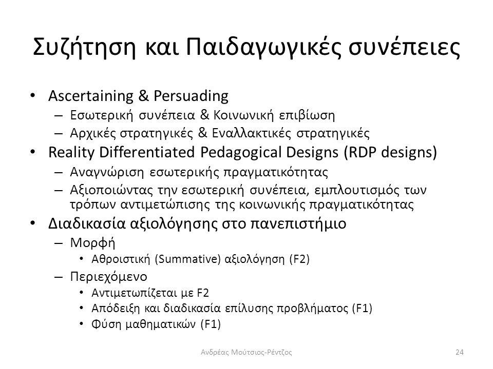 Συζήτηση και Παιδαγωγικές συνέπειες Ascertaining & Persuading – Εσωτερική συνέπεια & Κοινωνική επιβίωση – Αρχικές στρατηγικές & Εναλλακτικές στρατηγικές Reality Differentiated Pedagogical Designs (RDP designs) – Αναγνώριση εσωτερικής πραγματικότητας – Αξιοποιώντας την εσωτερική συνέπεια, εμπλουτισμός των τρόπων αντιμετώπισης της κοινωνικής πραγματικότητας Διαδικασία αξιολόγησης στο πανεπιστήμιο – Μορφή Αθροιστική (Summative) αξιολόγηση (F2) – Περιεχόμενο Αντιμετωπίζεται με F2 Απόδειξη και διαδικασία επίλυσης προβλήματος (F1) Φύση μαθηματικών (F1) Ανδρέας Μούτσιος-Ρέντζος24