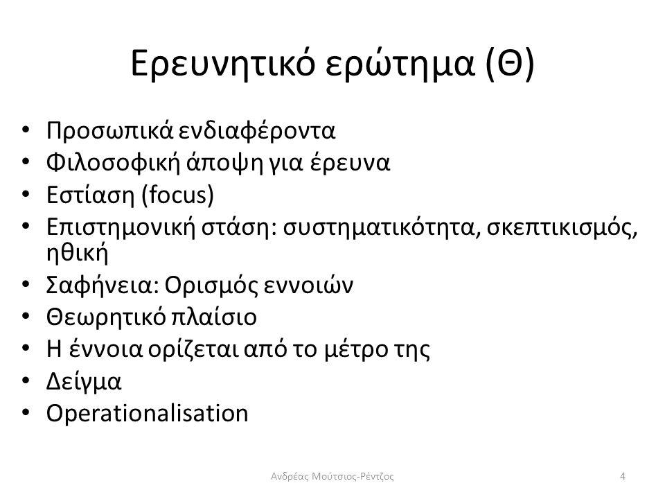 Ερευνητικό ερώτημα (Θ) Προσωπικά ενδιαφέροντα Φιλοσοφική άποψη για έρευνα Εστίαση (focus) Επιστημονική στάση: συστηματικότητα, σκεπτικισμός, ηθική Σαφήνεια: Ορισμός εννοιών Θεωρητικό πλαίσιο Η έννοια ορίζεται από το μέτρο της Δείγμα Operationalisation 4Ανδρέας Μούτσιος-Ρέντζος