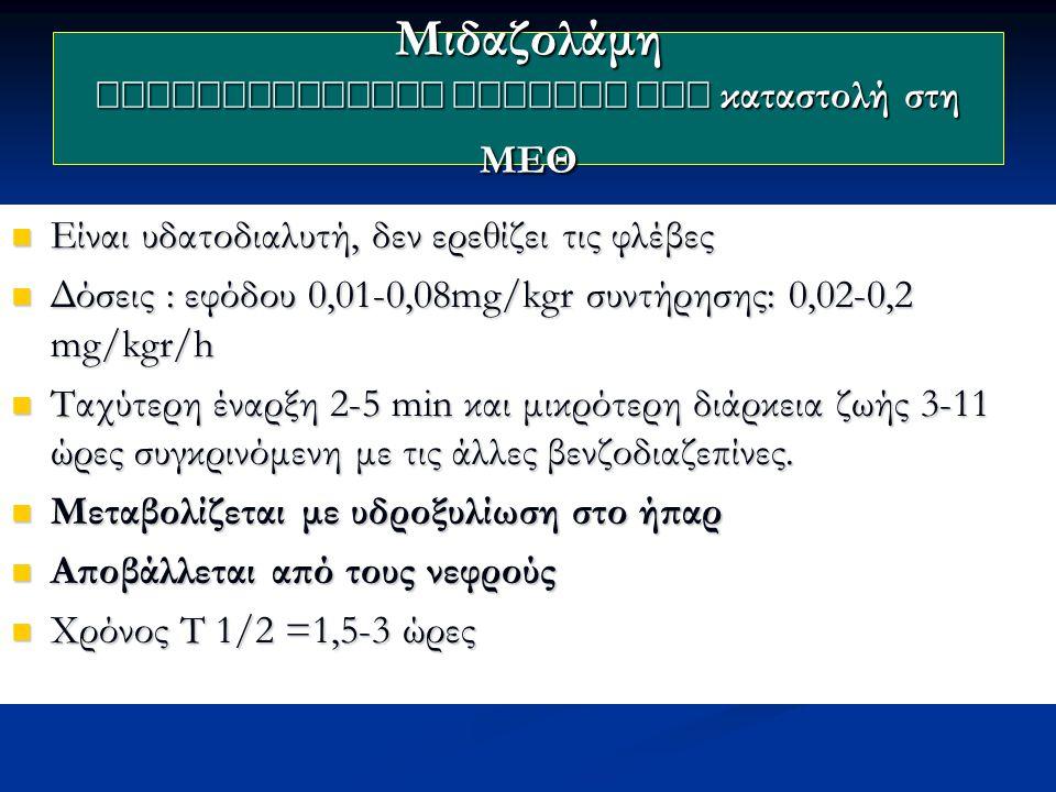 Μιδαζολάμη Β  καταστολή στη ΜΕΘ Είναι υδατοδιαλυτή, δεν ερεθίζει τις φλέβες Είναι υδατοδιαλυτή, δεν ερεθίζει τις φλέβες Δόσεις : εφόδου 0,01-0,08mg/kgr συντήρησης: 0,02-0,2 mg/kgr/h Δόσεις : εφόδου 0,01-0,08mg/kgr συντήρησης: 0,02-0,2 mg/kgr/h Ταχύτερη έναρξη 2-5 min και μικρότερη διάρκεια ζωής 3-11 ώρες συγκρινόμενη με τις άλλες βενζοδιαζεπίνες.