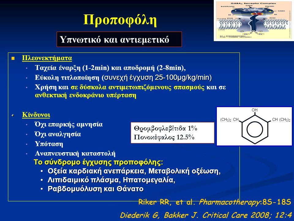 Προποφόλη Πλεονεκτήματα Ταχεία έναρξη (1-2min) και αποδρομή (2-8min), συνεχή έγχυση 25-100μg/kg/min) Εύκολη τιτλοποίηση ( συνεχή έγχυση 25-100μg/kg/min) Χρήση και σε δύσκολα αντιμετωπιζόμενους σπασμούς και σε ανθεκτική ενδοκράνιο υπέρταση Κίνδυνοι Όχι επαρκής αμνησία Όχι αναλγησία Υπόταση Αναπνευστική καταστολή Το σύνδρομο έγχυσης προποφόλης: Το σύνδρομο έγχυσης προποφόλης: Oξεία καρδιακή ανεπάρκεια, Μεταβολική οξέωση,Oξεία καρδιακή ανεπάρκεια, Μεταβολική οξέωση, Λιπιδαιμικό πλάσμα, Ηπατομεγαλία,Λιπιδαιμικό πλάσμα, Ηπατομεγαλία, Ραβδομυόλυση και ΘάνατοΡαβδομυόλυση και Θάνατο Riker RR, et al.
