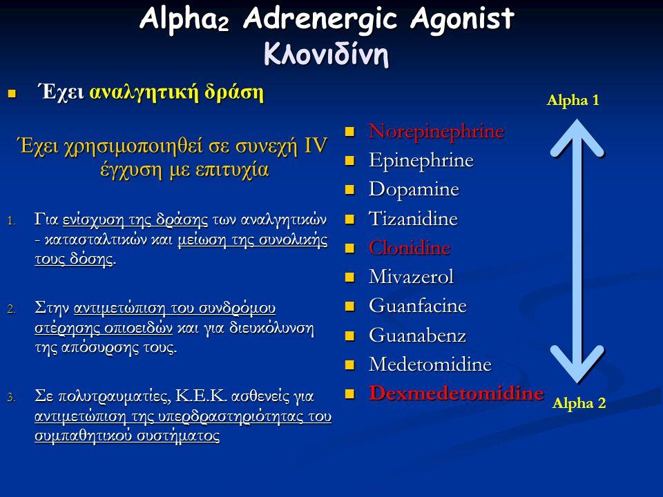 Alpha 2 Adrenergic Agonist Κλονιδίνη Έχει αναλγητική δράση Έχει αναλγητική δράση Έχει χρησιμοποιηθεί σε συνεχή IV έγχυση με επιτυχία Έχει χρησιμοποιηθεί σε συνεχή IV έγχυση με επιτυχία 1.