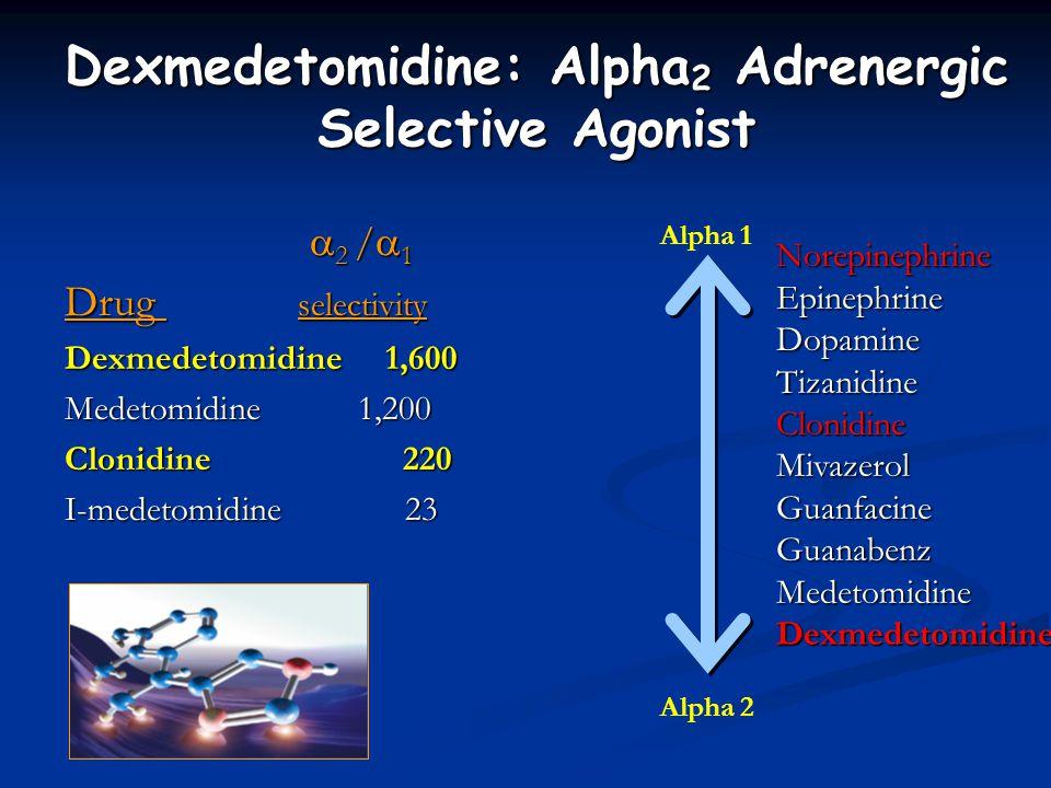  2 /  1  2 /  1 Drug selectivity Dexmedetomidine 1,600 Medetomidine 1,200 Clonidine 220 I-medetomidine 23 Dexmedetomidine: Alpha 2 Adrenergic Selective Agonist NorepinephrineEpinephrineDopamineTizanidineClonidineMivazerolGuanfacineGuanabenzMedetomidineDexmedetomidine Alpha 1 Alpha 2