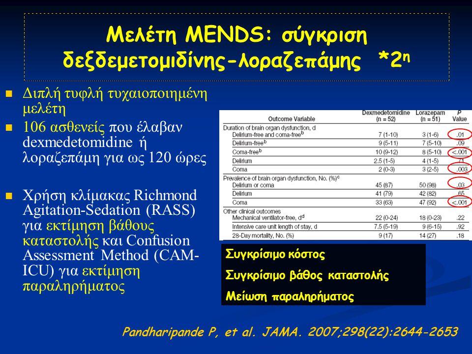 Μελέτη MENDS: σύγκριση δεξδεμετομιδίνης-λοραζεπάμης *2 η Διπλή τυφλή τυχαιοποιημένη μελέτη 106 ασθενείς που έλαβαν dexmedetomidine ή λοραζεπάμη για ως 120 ώρες Χρήση κλίμακας Richmond Agitation-Sedation (RASS) για εκτίμηση βάθους καταστολής και Confusion Assessment Method (CAM- ICU) για εκτίμηση παραληρήματος Pandharipande Ρ, et al.