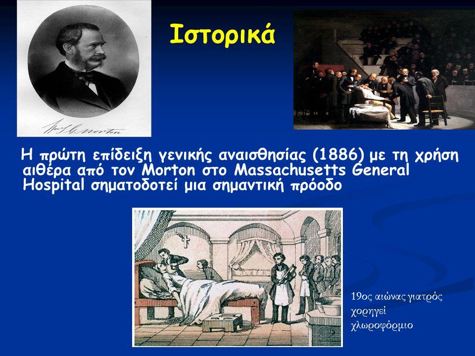 Ιστορικά Η πρώτη επίδειξη γενικής αναισθησίας (1886) με τη χρήση αιθέρα από τον Morton στο Massachusetts General Hospital σηματοδοτεί μια σημαντική πρόοδο 19ος αιώνας γιατρός χορηγεί χλωροφόρμιο