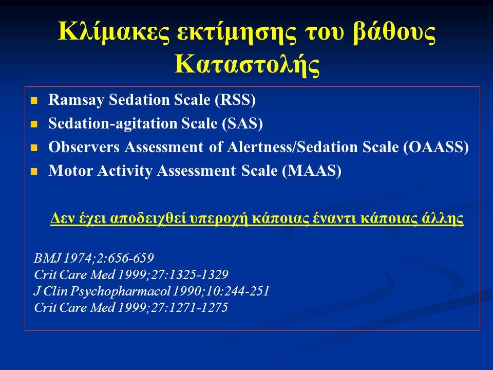 Κλίμακες εκτίμησης του βάθους Καταστολής Ramsay Sedation Scale (RSS) Sedation-agitation Scale (SAS) Observers Assessment of Alertness/Sedation Scale (OAASS) Motor Activity Assessment Scale (MAAS) Δεν έχει αποδειχθεί υπεροχή κάποιας έναντι κάποιας άλλης BMJ 1974;2:656-659 Crit Care Med 1999;27:1325-1329 J Clin Psychopharmacol 1990;10:244-251 Crit Care Med 1999;27:1271-1275