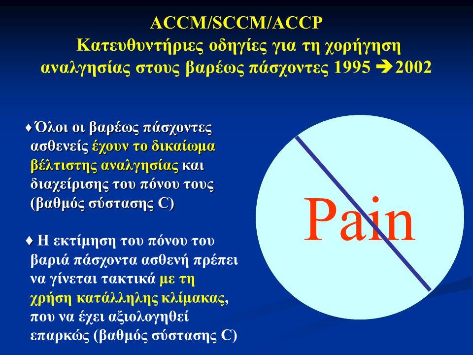 Pain ACCM/SCCM/ACCP Κατευθυντήριες οδηγίες για τη χορήγηση αναλγησίας στους βαρέως πάσχοντες 1995  2002 ♦ Όλοι οι βαρέως πάσχοντες ασθενείς έχουν το δικαίωμα βέλτιστης αναλγησίας και διαχείρισης του πόνου τους (βαθμός σύστασης C) ♦ ♦ Η εκτίμηση του πόνου του βαριά πάσχοντα ασθενή πρέπει να γίνεται τακτικά με τη χρήση κατάλληλης κλίμακας, που να έχει αξιολογηθεί επαρκώς (βαθμός σύστασης C)