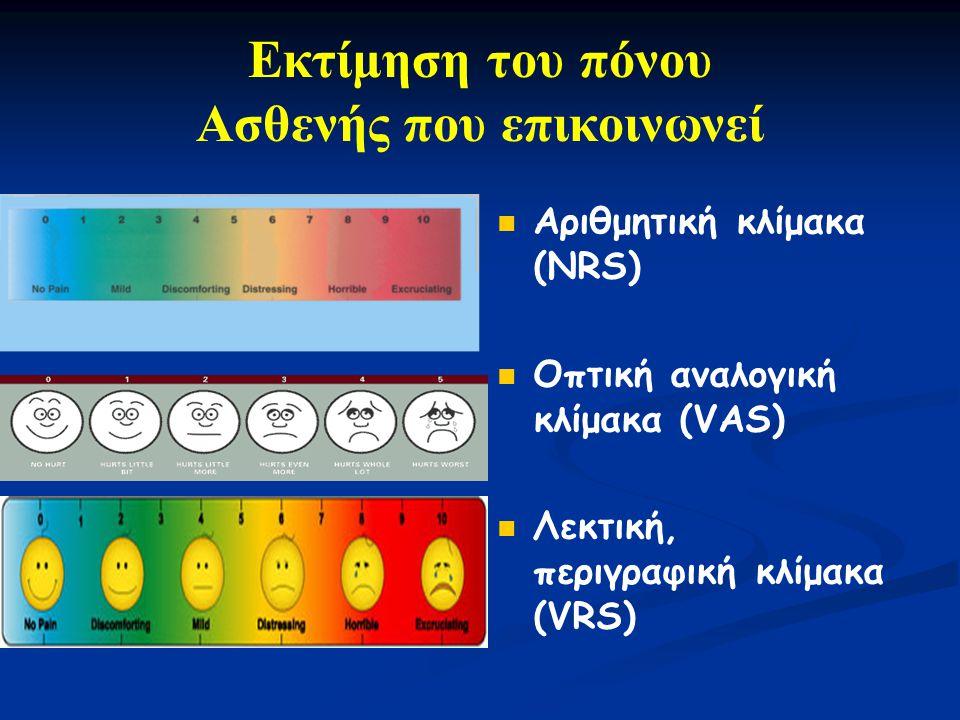 Αριθμητική κλίμακα (ΝRS) Οπτική αναλογική κλίμακα (VAS) Λεκτική, περιγραφική κλίμακα (VRS) Εκτίμηση του πόνου Ασθενής που επικοινωνεί