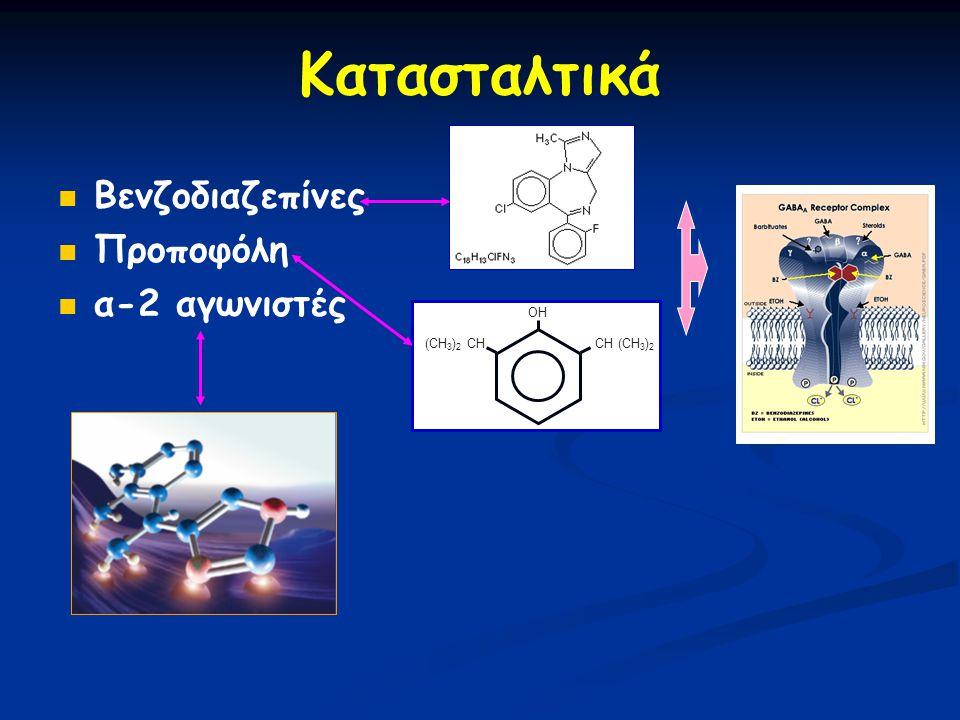 Κατασταλτικά Βενζοδιαζεπίνες Προποφόλη α-2 αγωνιστές (CH 3 ) 2 CH CH (CH 3 ) 2 OH