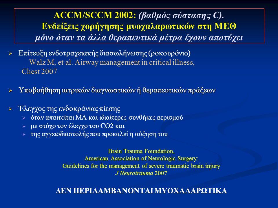 ACCM/SCCM 2002: (βαθμός σύστασης C).